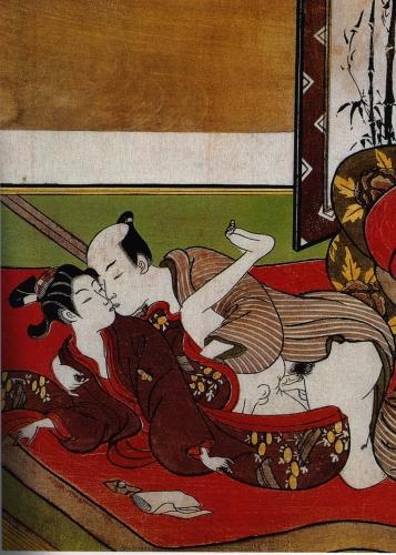 Suzuki Harunobu, détail d'un Shunga, gravure japonaise érotique, vers 1750..jpg